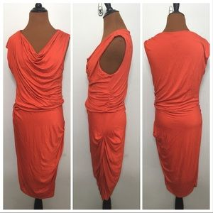 Bordeaux Anthropologie draped orange dress